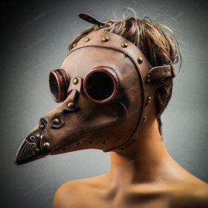 Plague Doctor Long Nose Mask Steampunk - Brown